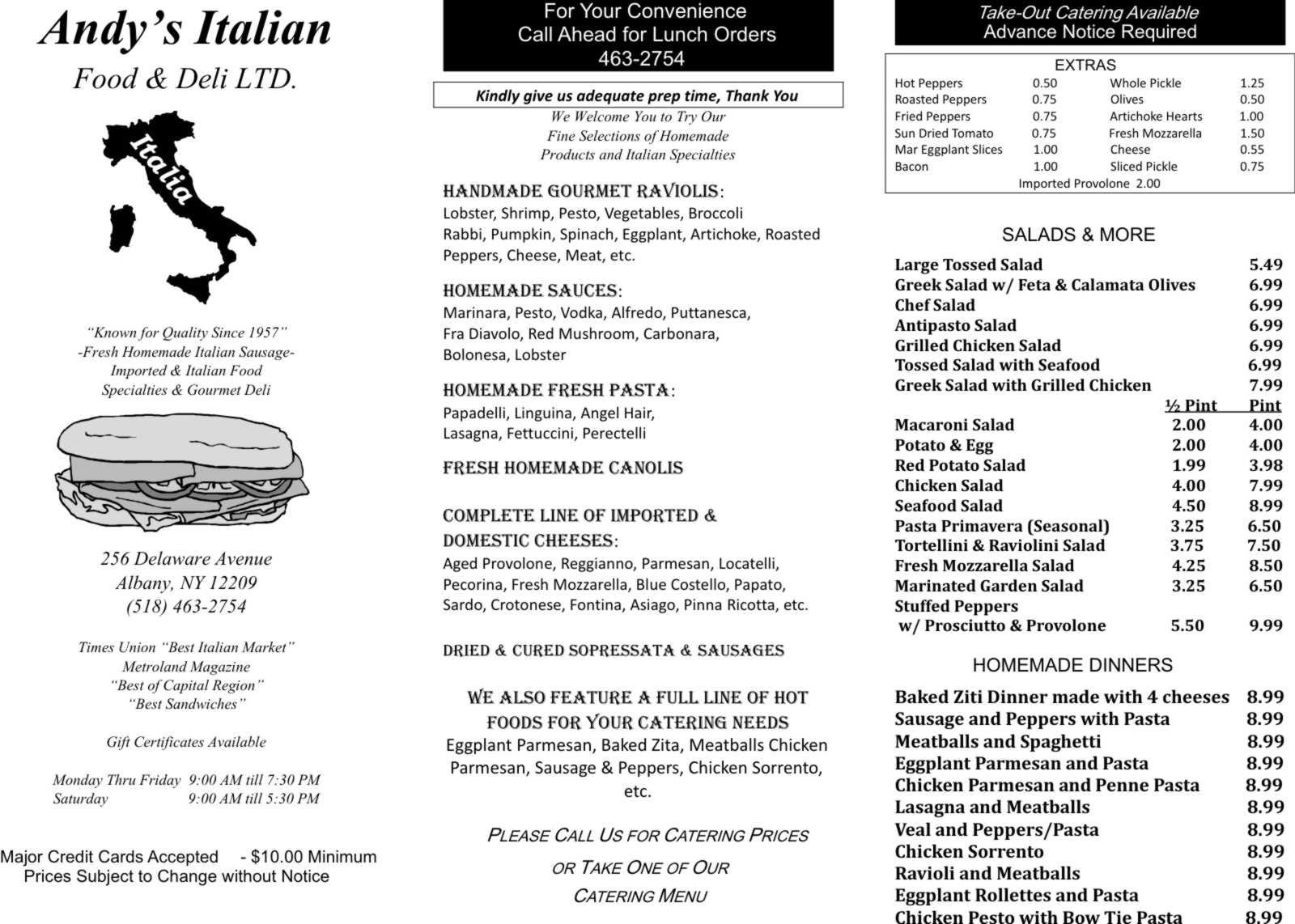 andy s italian food deli ltd take out menu albany ny